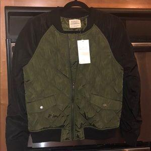 NEW olive bomber jacket black fits small-medium